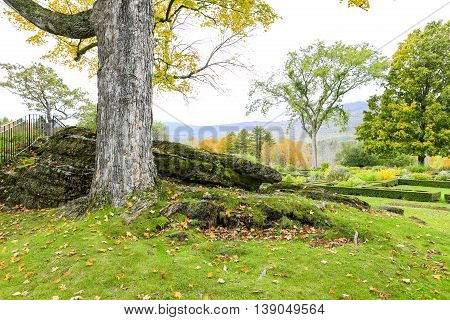 Nice Landscaping Desing, Moutains At The Background, Vermont