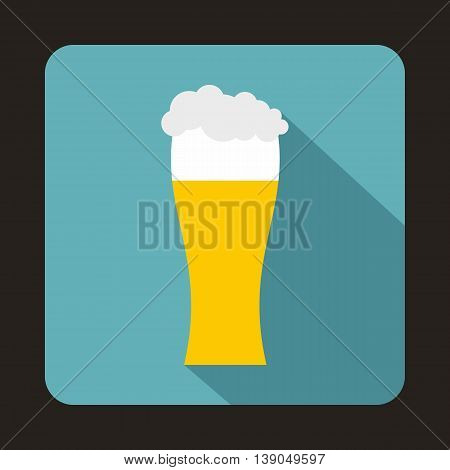 Glass of beer icon in flat style on a baby blue background