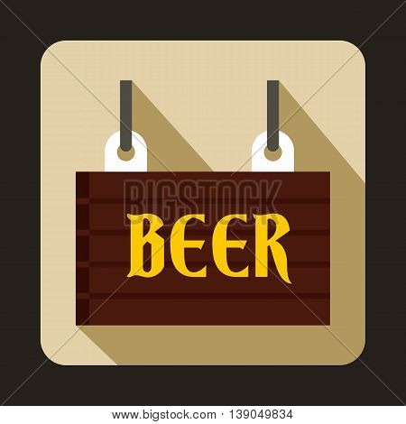 Street signboard of beer icon in flat style on a beige background