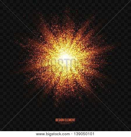 Abstract bright golden shimmer glowing particles transparent vector background. Scatter shining star dust light explosion effect. Burning sparks. Celebration holidays and party illustration