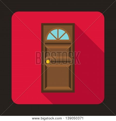 Brown door with an arched glass icon in flat style on a pink background