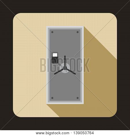 Safe door icon in flat style on a beige background