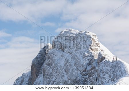 white mountain peaks of a high mountain in the Dachstein area