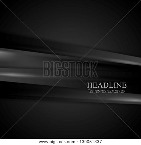 Abstract black stripes corporate background. Vector tech dark graphic design