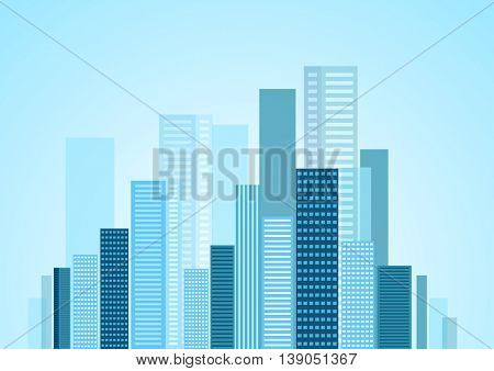 Urban modern city blue panorama. Vector skyline cityscape design