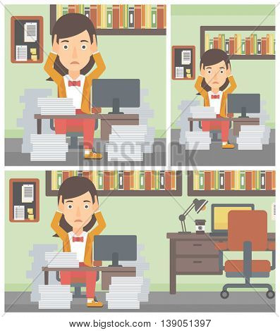 Young business woman in despair sitting at workplace with heaps of papers and clutching her head. Vector flat design illustration. Square, horizontal, vertical layouts.