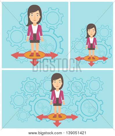 Young woman standing on three alternative ways on a blue background with cogwheels. Concept of career choices. Vector flat design illustration. Square, horizontal, vertical layouts.
