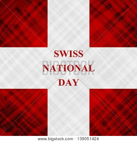 The Swiss National Day, Schweizer Bundesfeier, 1 August with swiss cross flag. Vector design