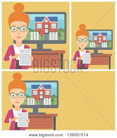 Young woman standing in front of tv screen with house photo on it and pointing at a real estate contract. Vector flat design Illustration. Square, horizontal, vertical layouts.