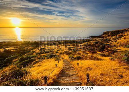 Hallett Cove Boardwalk at sunset South Australia