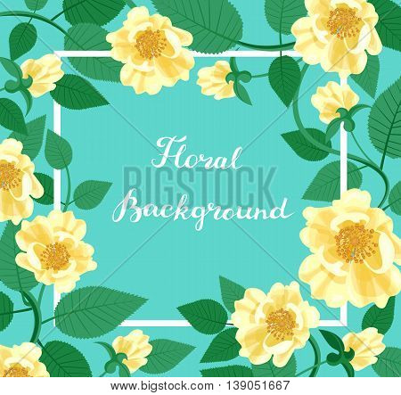 Yellow Roses border. Frame with flowers and leaves. Decorative floral background. Copy space. Vector illustration.