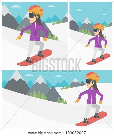 Sportswoman snowboarding on the background of snow capped mountain. Woman snowboarding in the mountains. Snowboarder in action. Vector flat design illustration. Square, horizontal, vertical layouts.