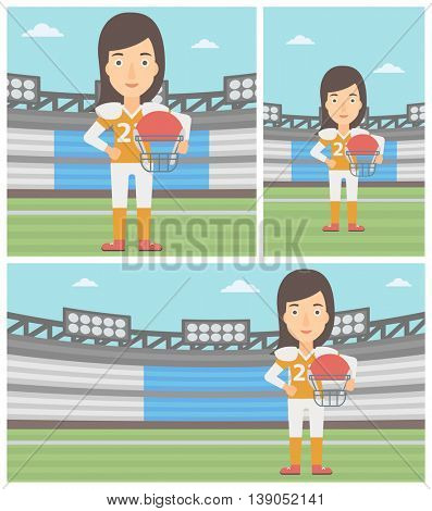 Young professional rugby player holding ball and helmet in hands. Female rugby player in uniform standing on rugby stadium. Vector flat design illustration. Square, horizontal, vertical layouts.