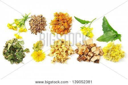 Natural flower and herb selection isolated on white