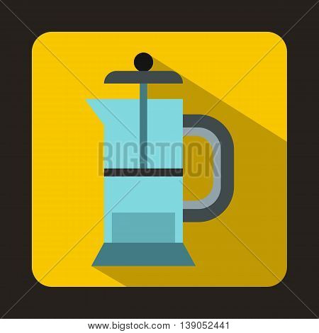 French press coffee maker icon in flat style on a yellow background
