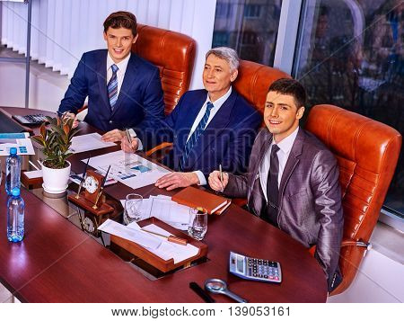 Happy business men boss group at business office. Top view.