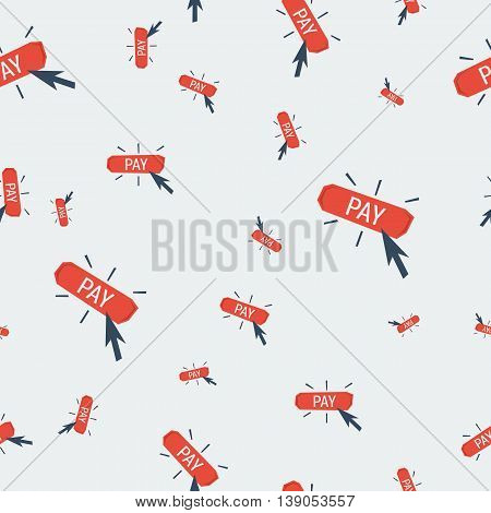 Vector seamless financial pattern with scattered red button pay with click arrow on grey background