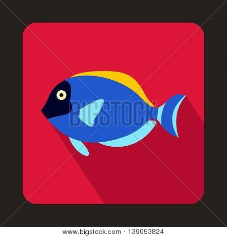 Blue surgeon fish icon in flat style on a pink background