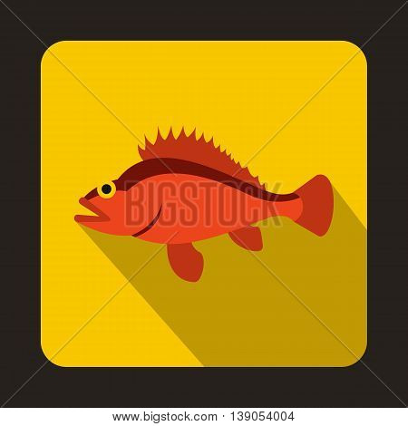 Rose fish, Sebastes norvegicus icon in flat style on a yellow background