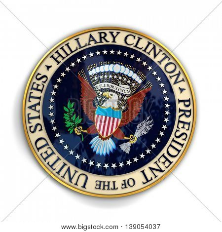 CLEVELAND, OH - July 18, 2016: Illustration of presidential seal with Hillary Clinton's name on it.