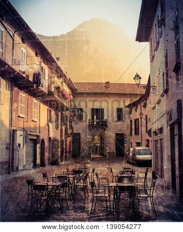 Vintage photograph of old European streets, Italy, lake Como, Europe