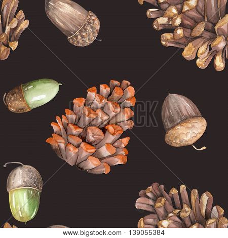 A seamless pattern with a floral ornament of the watercolor forest oak acorns and fir cones on a dark background