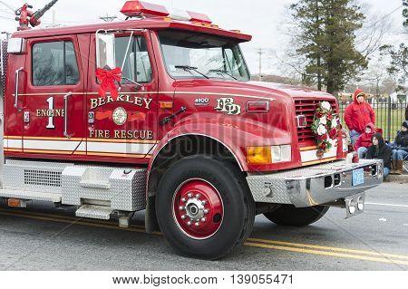 Taunton Massachusetts USA - December 5 2010: Berkley Fire Rescue truck decorated for Taunton Christmas Parade