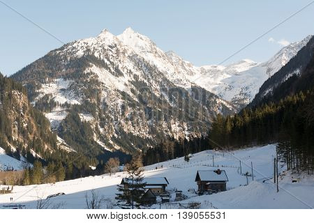 sunny mountains in the tourist area Ramsau - Austria