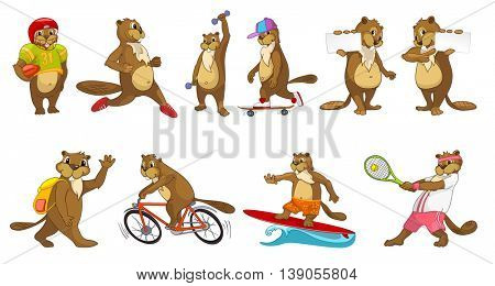 Set of cute beavers wearing sport uniform and using sports equipment. Beavers playing rugby, tennis. Beavers running, lifting dumbell, riding bicycle. Vector illustration isolated on white background.