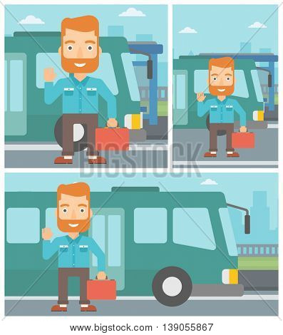 A hipster man with the beard standing at the entrance door of a bus on a city background. Young man waving in front of a bus. Vector flat design illustration. Square, horizontal, vertical layouts.