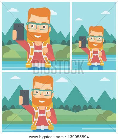 A hipster man with the beard making selfie on the background of mountains. Man with backpack taking photo with cellphone. Vector flat design illustration. Square, horizontal, vertical layouts.