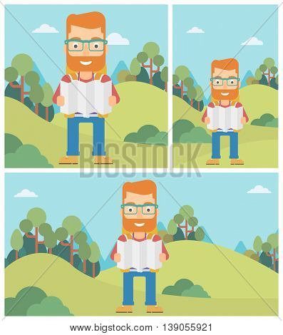 Traveler with backpack looking at map. Hipster man travelling in mountains. Traveler searching right direction on map. Vector flat design illustration. Square, horizontal, vertical layouts.