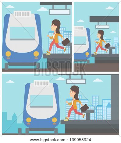 Latecomer woman running along the platform to reach the train. Young woman with briefcase at the train station. Vector flat design illustration. Square, horizontal, vertical layouts.