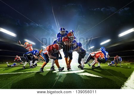 Collage from american football players in the action on the grand arena