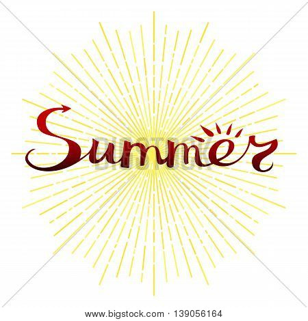 Summer lettering. Freehand word and abstract sun with rays. Hipster style decorative design element. Vector illustration.