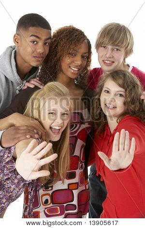 Studio Portrait Of Five Teenage Friends