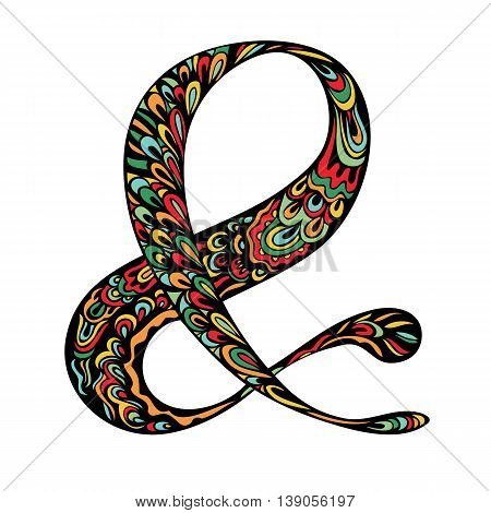 Colorful ornate Ampersand symbol. Elegant hand drawn element for wedding invitation. Character meaning And catchword for design. Vector illustration.