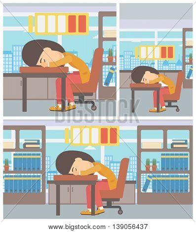 Young woman sleeping at workplace on laptop keyboard and low power battery sign over her head. Business woman sleeping in office. Vector flat design illustration. Square, horizontal, vertical layouts.