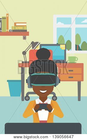 An african-american woman wearing a virtual reality headset. Smiling woman playing video games with a wireless game controller in hands. Vector flat design illustration. Vertical layout.