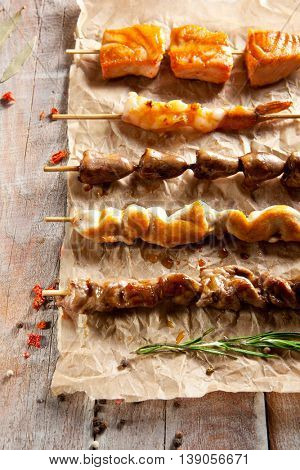 Grilled Tasty Foods on Parchment