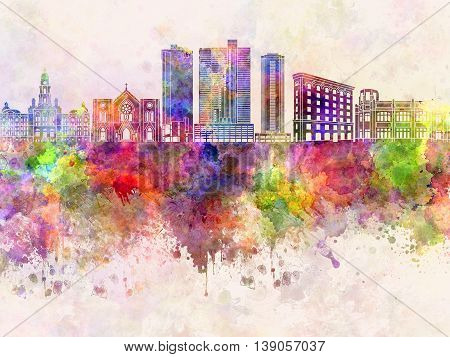 Fort Worth skyline artistic abstract in watercolor background