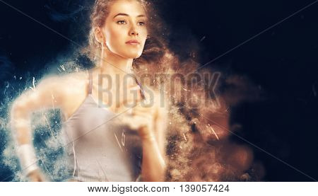 girl in sport on the sunset background