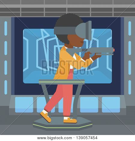 An african-american woman  wearing virtual reality headset. Woman playing video game while standing on a treadmill with a gun in hands. Vector flat design illustration. Square layout.