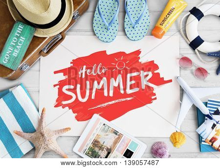 Summer Travel Objects Sign Concept