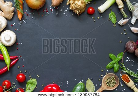 Menu food culinary frame concept on black background