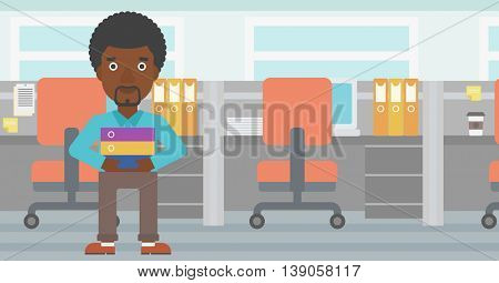 An african-american businessman standing with pile of folders in the office. Young businessman carrying a stack of folders. Vector flat design illustration. Horizontal layout.