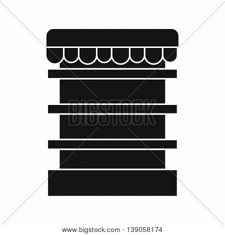 Empty supermarket refrigerator icon in simple style isolated vector illustration
