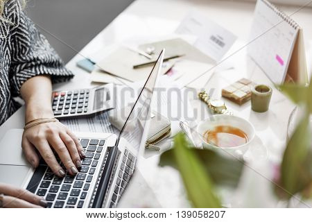 Woman Accountant Working Busy Concept