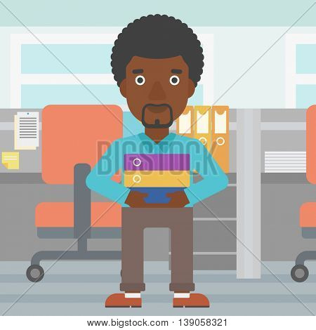 An african-american businessman standing with pile of folders in the office. Young businessman carrying a stack of folders. Vector flat design illustration. Square layout.