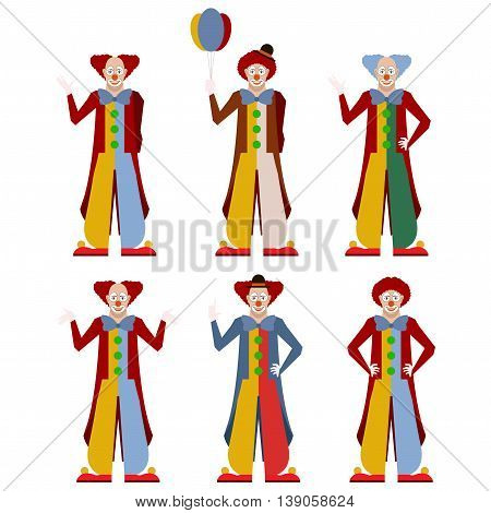 Vector image of the flat icons of clowns
